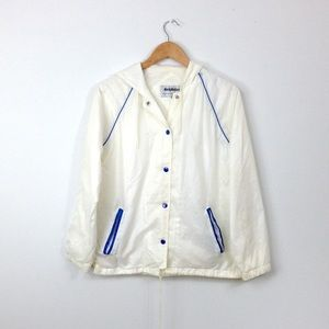 VTG jacket white blue piping womens zip up T56